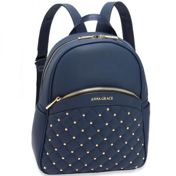 AG00590 – Navy Quilt & Stud Backpack School Bag_1_