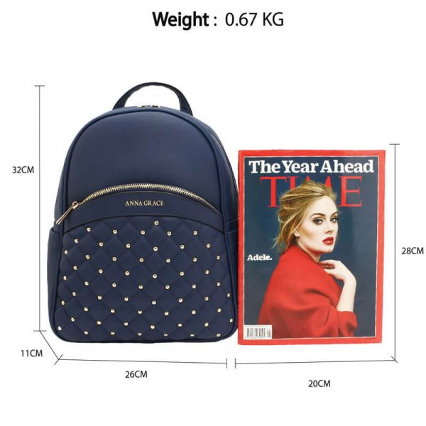 AG00590 – Navy Quilt & Stud Backpack School Bag_2_