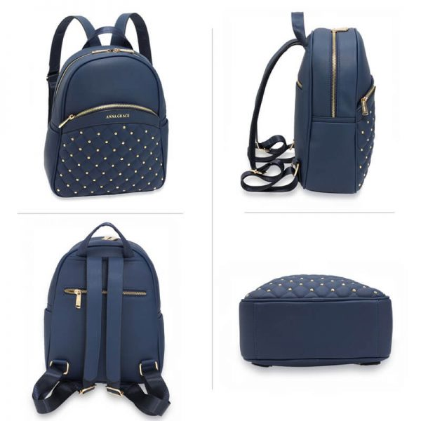 AG00590 – Navy Quilt & Stud Backpack School Bag_3_