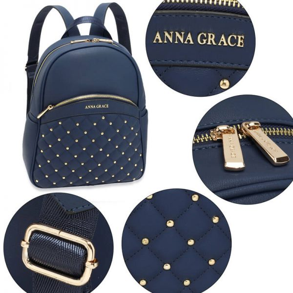 AG00590 – Navy Quilt & Stud Backpack School Bag_5_