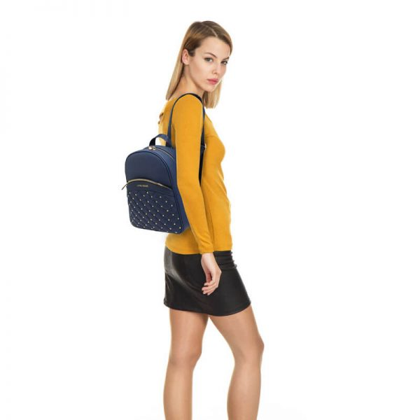 AG00590 – Navy Quilt & Stud Backpack School Bag_6_