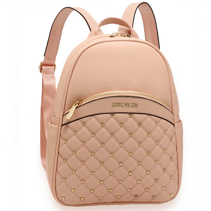 Pink Quilt & Stud Backpack School Bag