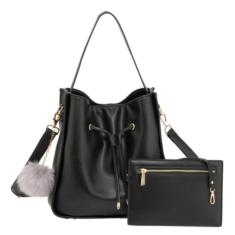 Black Drawstring Tote Bag With Pouch