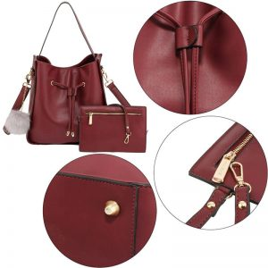 Burgundy Drawstring Tote Bag With Pouch