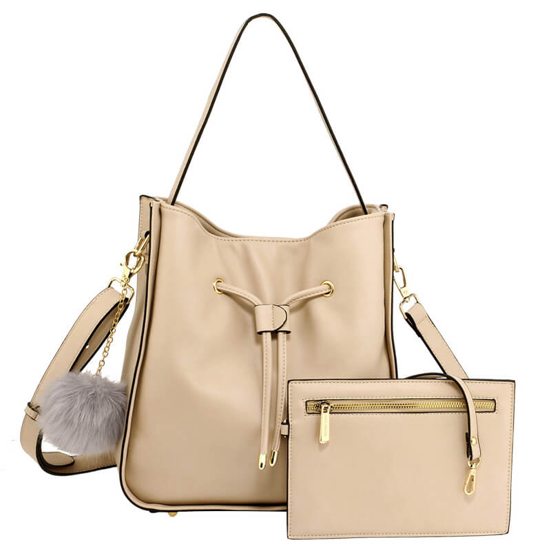Nude Drawstring Tote Bag With Pouch_