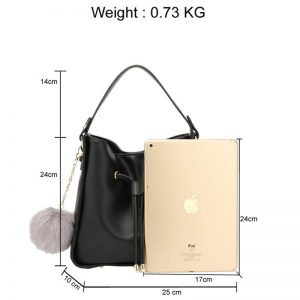 ... Black Drawstring Tote Bag With Faux-fur Bag Charm c7f72b7834f4f