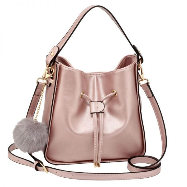 44889ccf6 Champagne Drawstring Tote Bag With Faux-fur Bag Charm Prices In ...