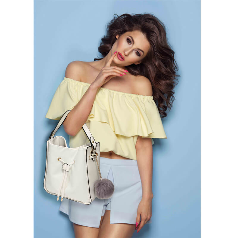 White Drawstring Tote Bag With Faux-fur Bag Charm Buy From Zardi All over  the Pakistan In Karachi b27198f530b66