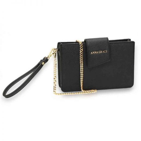 AG00593 – black Cross Body Shoulder Bag With Wristlet