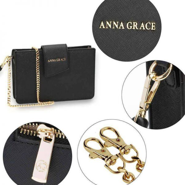 AG00593 – black Cross Body Shoulder Bag With Wristlet_5_
