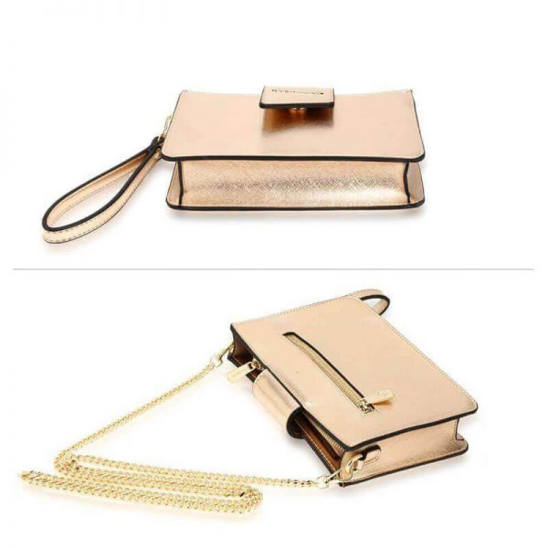 AG00593 – gold Cross Body Shoulder Bag With Wristlet3_