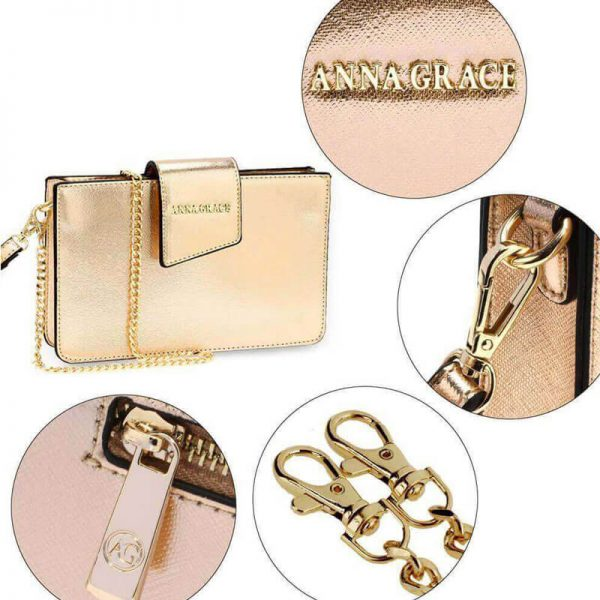 AG00593 – gold Cross Body Shoulder Bag With Wristlet5_