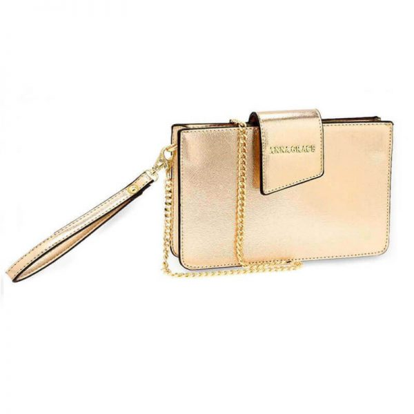 AG00593 – gold Cross Body Shoulder Bag With Wristlet_1_
