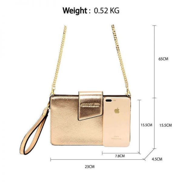 AG00593 – gold Cross Body Shoulder Bag With Wristlet_2_
