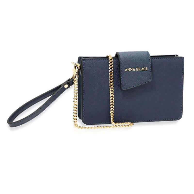 navy Cross Body Shoulder Bag With Wristlet
