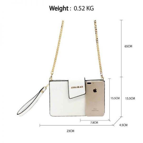 AG00593 – white Cross Body Shoulder Bag With Wristlet2_