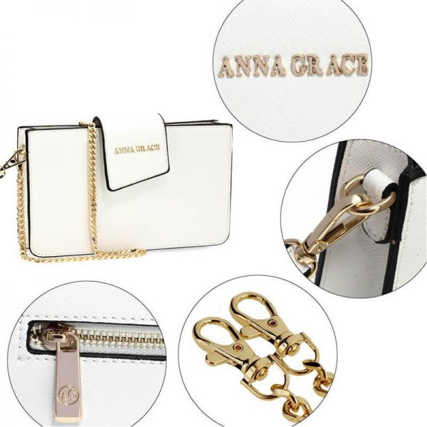 AG00593 – white Cross Body Shoulder Bag With Wristlet5_