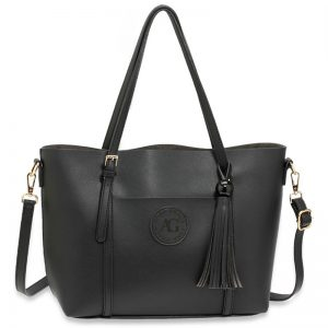 Black Anna Grace Fashion Tote Bag With Tassel