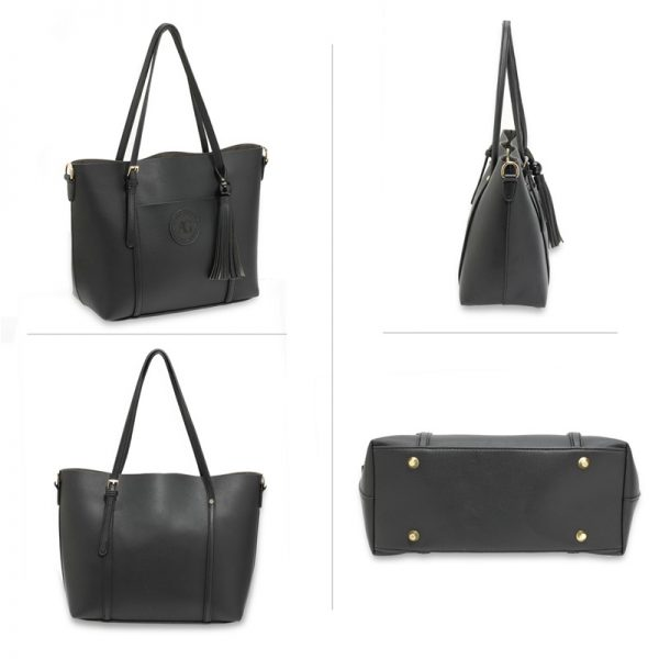 AG00595 – Black Anna Grace Fashion Tote Bag With Tassel_3_