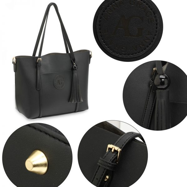 AG00595 – Black Anna Grace Fashion Tote Bag With Tassel_5_