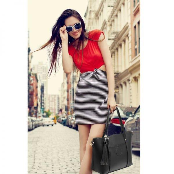 AG00595 – Black Anna Grace Fashion Tote Bag With Tassel_6_