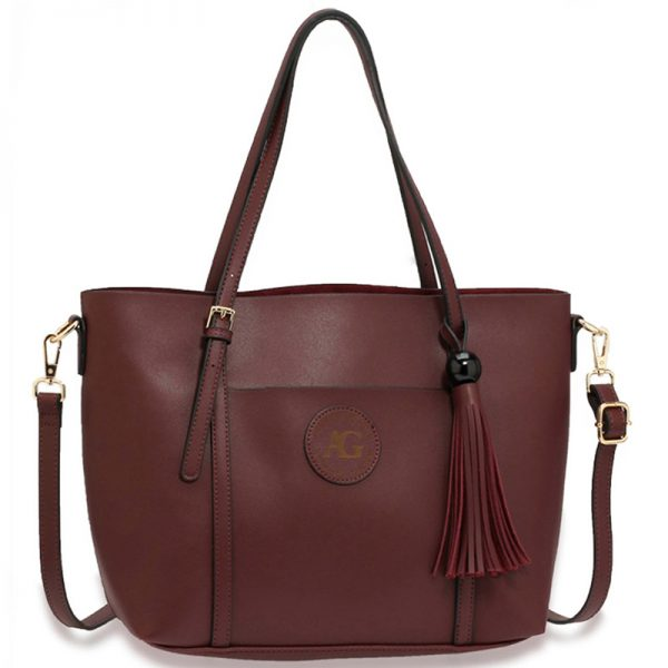 AG00595 – Burgundy Anna Grace Fashion Tote Bag With Tassel_1_