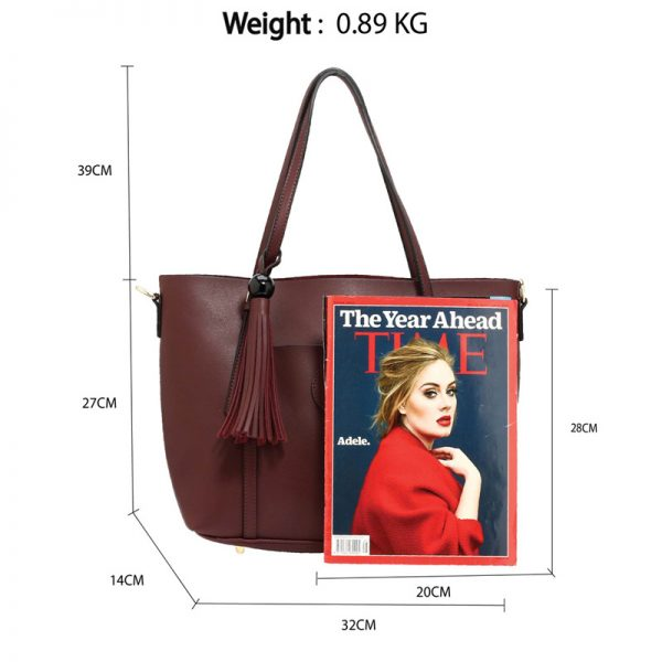 AG00595 – Burgundy Anna Grace Fashion Tote Bag With Tassel_2_