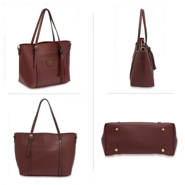 AG00595 – Burgundy Anna Grace Fashion Tote Bag With Tassel_3_
