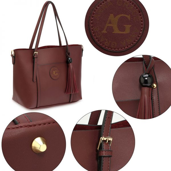 AG00595 – Burgundy Anna Grace Fashion Tote Bag With Tassel_5_