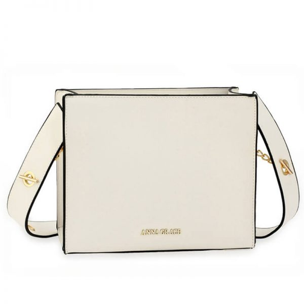 AG00596 – White Anna Grace Fashion Tote Bag