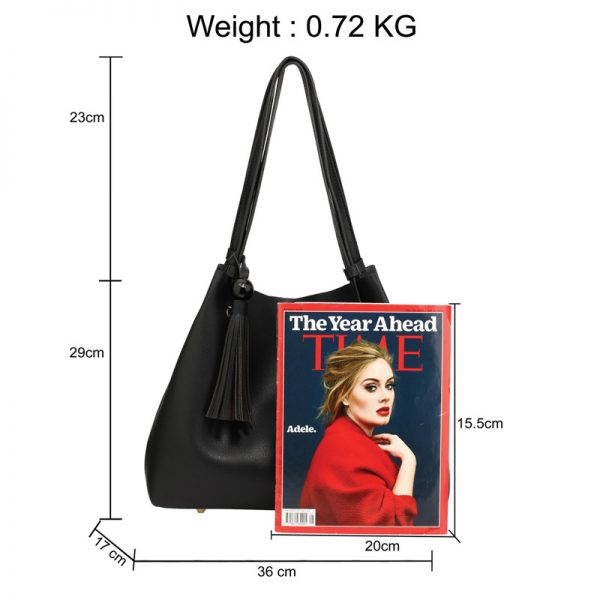 AG00611 – Black Fashion Hobo Bag With Pouch _2_