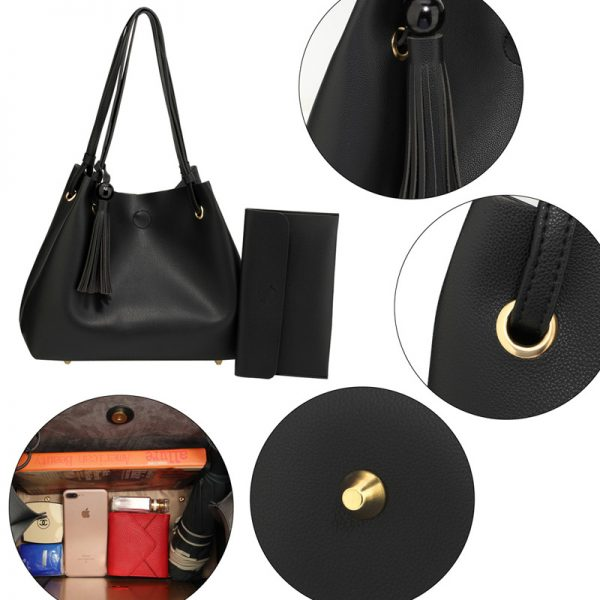 AG00611 – Black Fashion Hobo Bag With Pouch _5_