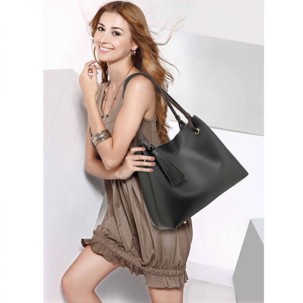 AG00611 – Black Fashion Hobo Bag With Pouch _6_