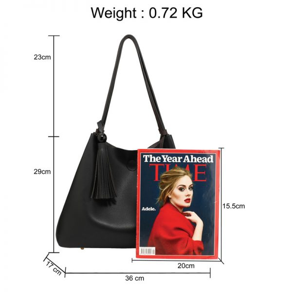 AG00611 – Black Tan Fashion Hobo Bag With Pouch _2_