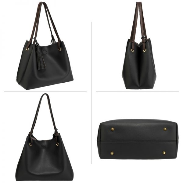 AG00611 – Black Tan Fashion Hobo Bag With Pouch -_4_