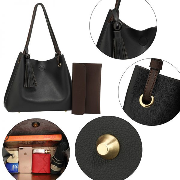 AG00611 – Black Tan Fashion Hobo Bag With Pouch _5_
