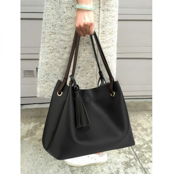 AG00611 – Black Tan Fashion Hobo Bag With Pouch _6_