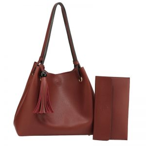 Burgundy Fashion Hobo Bag With Pouch