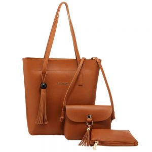 3 Pieces Set Brown Womens Fashion Handbags