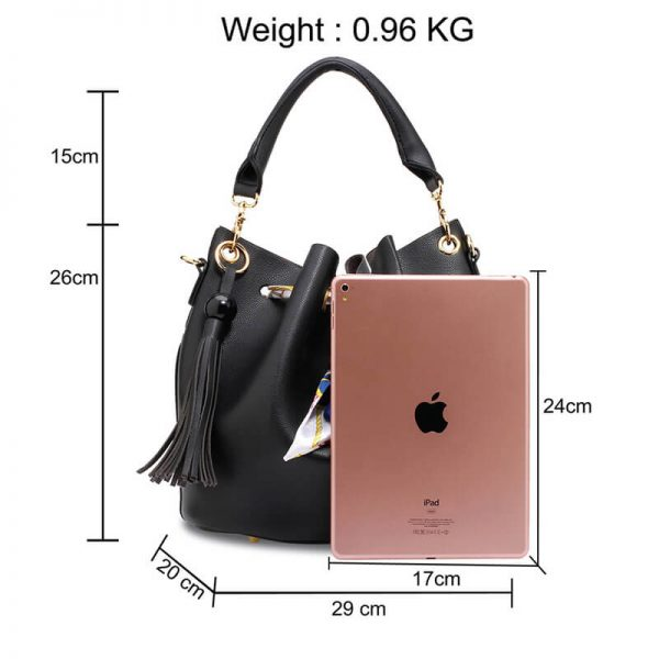 AG00615 – Black Drawstring Bucket Bag With Pouch_2_