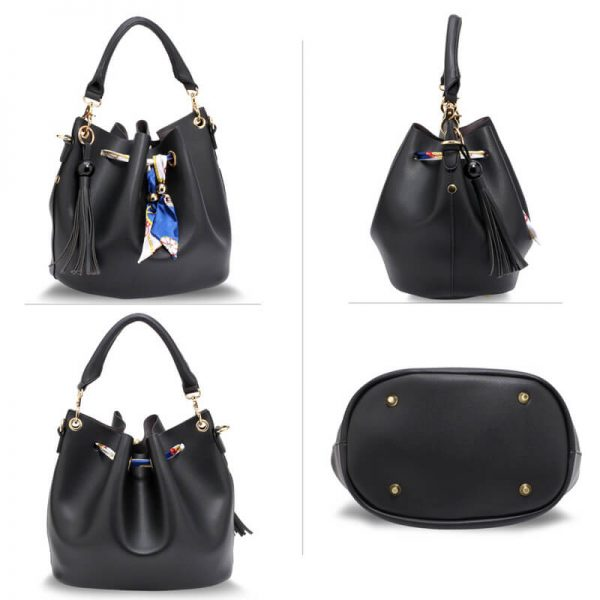 AG00615 – Black Drawstring Bucket Bag With Pouch_3_