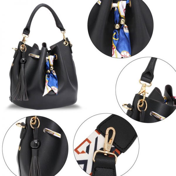 AG00615 – Black Drawstring Bucket Bag With Pouch_5_