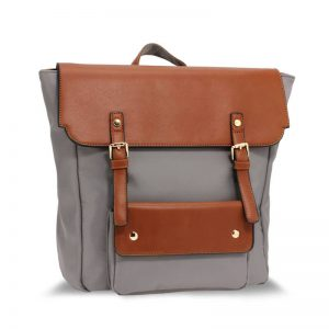 Grey Tan Backpack Rucksack School Bag