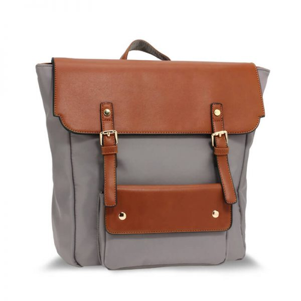 AG00617 – Grey Tan Backpack Rucksack School Bag_1_