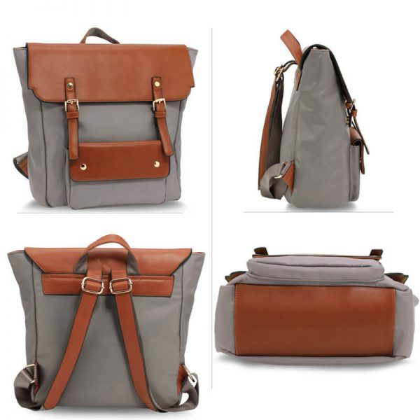 AG00617 – Grey Tan Backpack Rucksack School Bag_3_