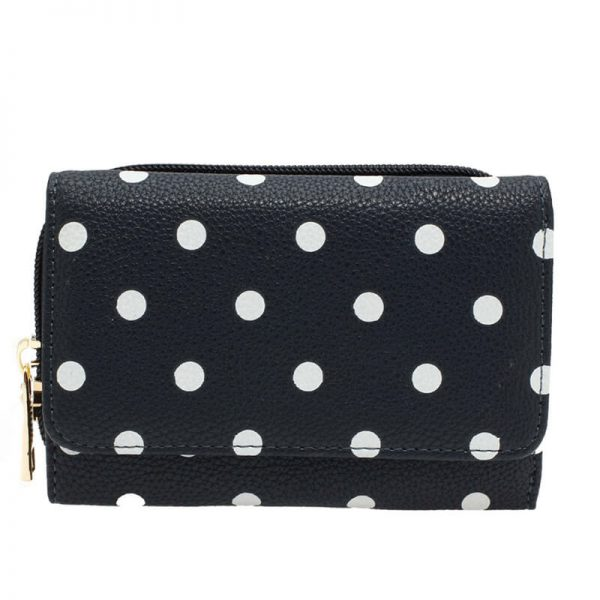 AGP1045B_navy Polka Dot Design Purs Wallet _1_
