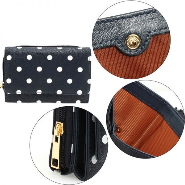 AGP1045B_navy Polka Dot Design Purs Wallet_5_