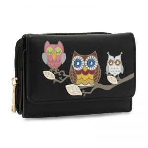 Black Flap Owl Design Purse Wallet