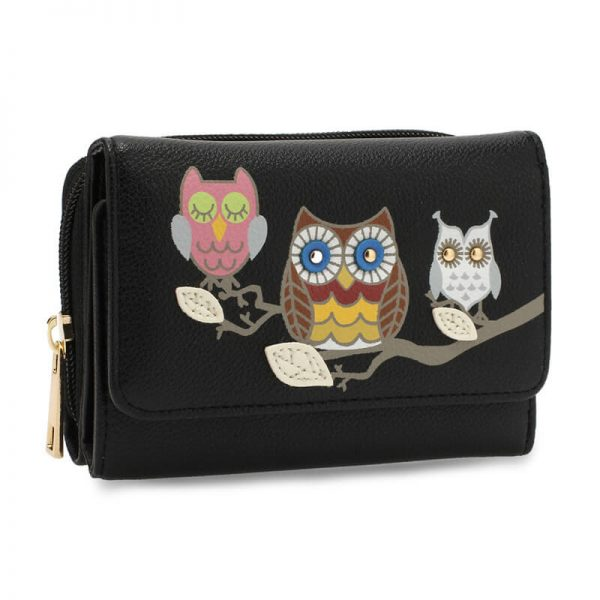AGP1101 – Black Flap Owl Design Purse Wallet_1_