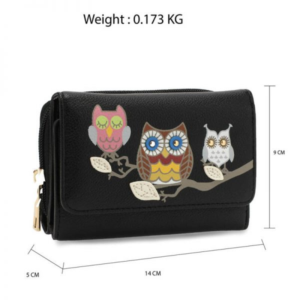 AGP1101 – Black Flap Owl Design Purse Wallet_2_